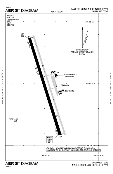 Fayette Rgnl Air Center Airport (La Grange, TX): 3T5 Airport Diagram