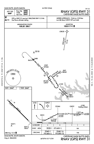 Cheyenne Eagle Butte Eagle Butte, SD (84D): RNAV (GPS) RWY 31 (IAP)