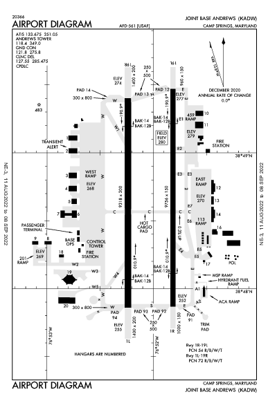 Joint Base Andrews Camp Springs, MD (KADW): AIRPORT DIAGRAM (APD)