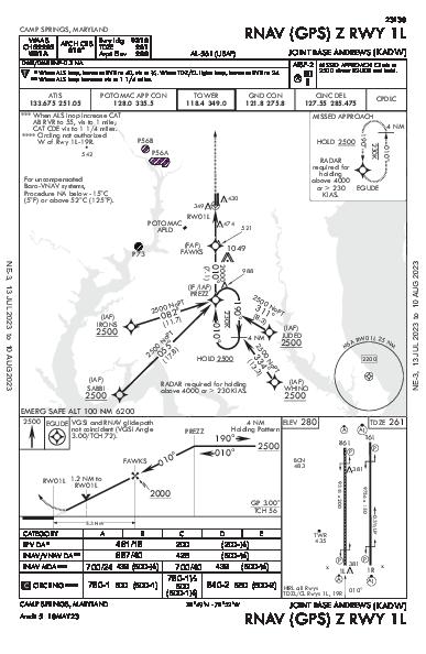 Joint Base Andrews Camp Springs, MD (KADW): RNAV (GPS) Z RWY 01L (IAP)
