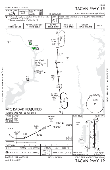 Joint Base Andrews Camp Springs, MD (KADW): TACAN RWY 01R (IAP)