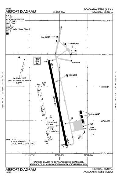 Acadiana Rgnl New Iberia, LA (KARA): AIRPORT DIAGRAM (APD)