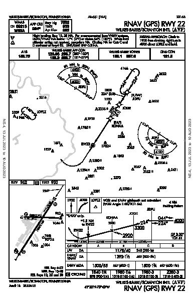 Scranton Intl Wilkes-Barre/Scranton, PA (KAVP): RNAV (GPS) RWY 22 (IAP)