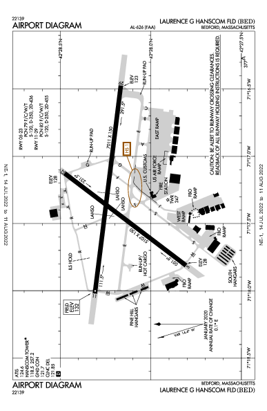 Laurence G Hanscom Fld Bedford, MA (KBED): AIRPORT DIAGRAM (APD)