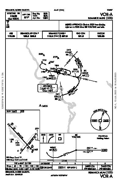 Bismarck Muni Bismarck, ND (KBIS): VOR-A (IAP)