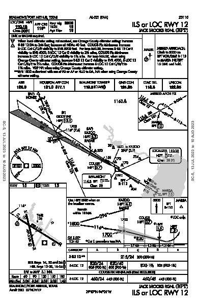 Jack Brooks Rgnl Beaumont/Port Arthur, TX (KBPT): ILS OR LOC RWY 12 (IAP)