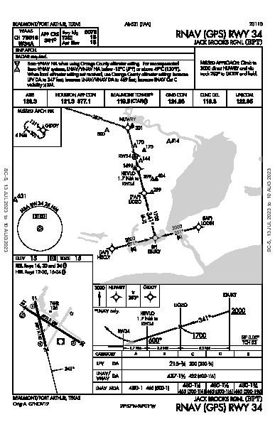 Jack Brooks Rgnl Beaumont/Port Arthur, TX (KBPT): RNAV (GPS) RWY 34 (IAP)