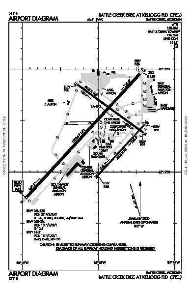 Battle Creek Exec At Kellogg Fld Battle Creek, MI (KBTL): AIRPORT DIAGRAM (APD)
