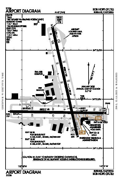 Bob Hope Burbank, CA (KBUR): AIRPORT DIAGRAM (APD)