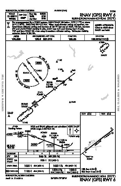 Burlington-Alamance Rgnl Burlington, NC (KBUY): RNAV (GPS) RWY 06 (IAP)