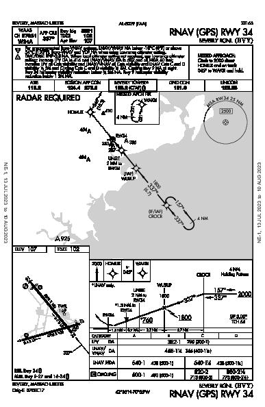 Beverly Rgnl Beverly, MA (KBVY): RNAV (GPS) RWY 34 (IAP)