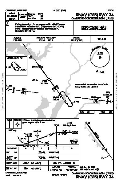 Cambridge-Dorchester Rgnl Cambridge, MD (KCGE): RNAV (GPS) RWY 34 (IAP)