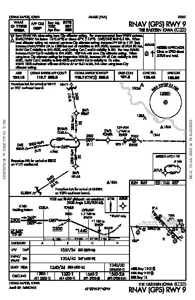 The Eastern Iowa Cedar Rapids, IA (KCID): RNAV (GPS) RWY 09 (IAP)