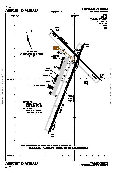 Columbia Rgnl Columbia, MO (KCOU): AIRPORT DIAGRAM (APD)