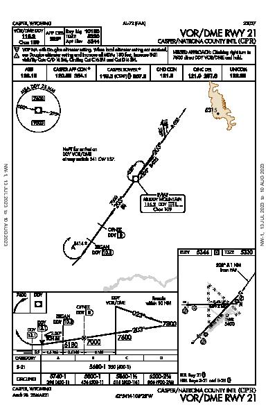 Casper/Natrona County Intl Casper, WY (KCPR): VOR/DME RWY 21 (IAP)