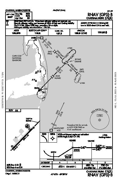 Chatham Muni Chatham, MA (KCQX): RNAV (GPS)-B (IAP)