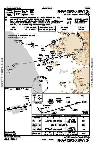 McClellan-Palomar Carlsbad, CA (KCRQ): RNAV (GPS) X RWY 24 (IAP)