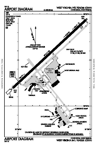 Yeager Charleston, WV (KCRW): AIRPORT DIAGRAM (APD)