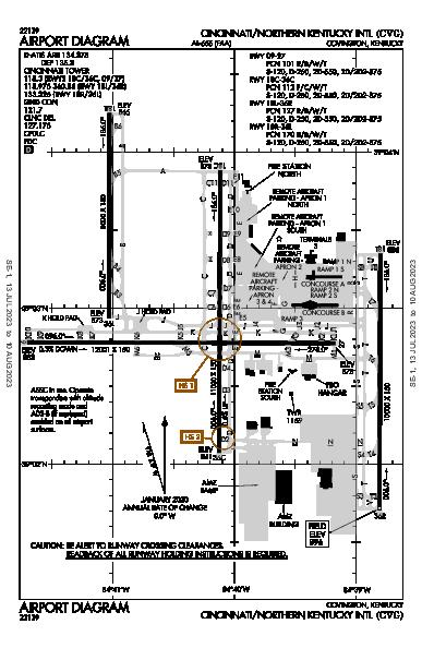 辛辛那堤/北肯塔基國際機場 Hebron, KY (KCVG): AIRPORT DIAGRAM (APD)