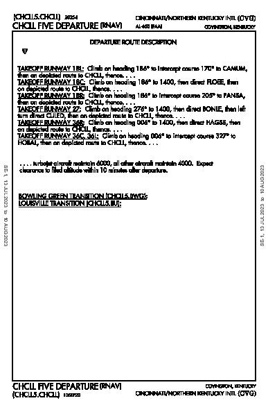辛辛那堤/北肯塔基國際機場 Hebron, KY (KCVG): CHCLL FIVE (RNAV) (DP)