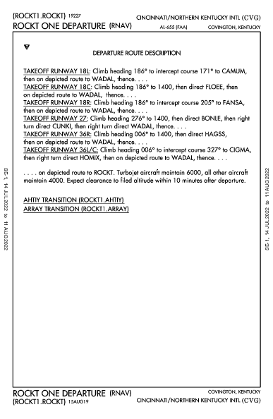 辛辛那堤/北肯塔基國際機場 Hebron, KY (KCVG): ROCKT ONE (RNAV) (DP)