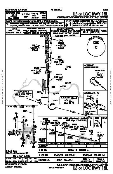 Cincinnati/Northern Kentucky International Airport Hebron, KY (KCVG): ILS OR LOC RWY 18L (IAP)