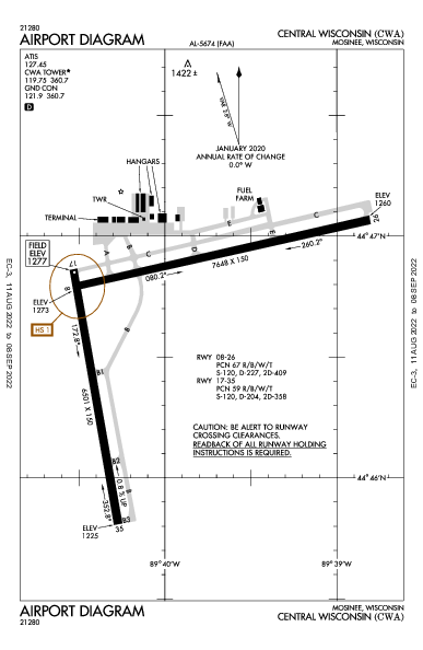 Central Wisconsin Mosinee, WI (KCWA): AIRPORT DIAGRAM (APD)