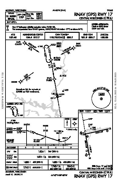 Central Wisconsin Mosinee, WI (KCWA): RNAV (GPS) RWY 17 (IAP)