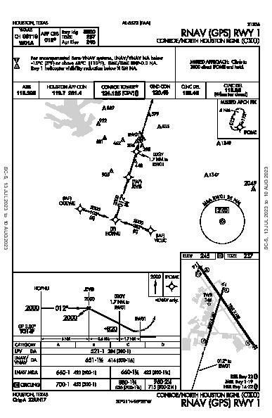 Conroe-North Houston Rgnl Houston, TX (KCXO): RNAV (GPS) RWY 01 (IAP)