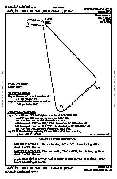Driggs-Reed Meml Driggs, ID (KDIJ): LAMON THREE (OBSTACLE) (RNAV) (ODP)