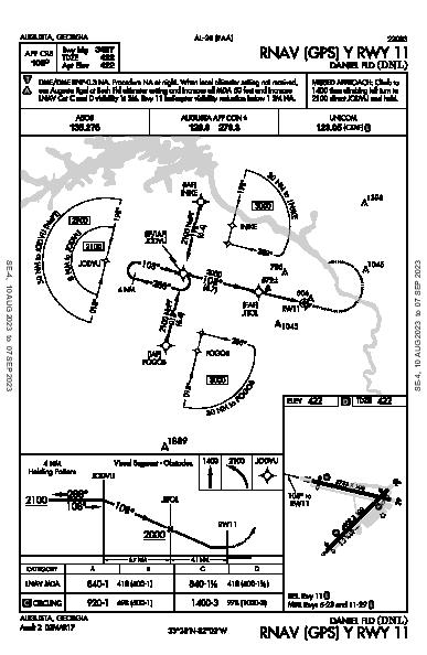 Daniel Fld Augusta, GA (KDNL): RNAV (GPS) Y RWY 11 (IAP)