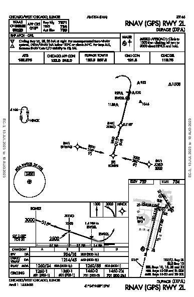 Dupage Chicago/West Chicago, IL (KDPA): RNAV (GPS) RWY 02L (IAP)