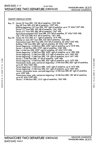 Pangborn Meml Wenatchee, WA (KEAT): WENATCHEE TWO (OBSTACLE) (ODP)