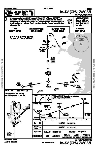 Houston Ellington Houston, TX (KEFD): RNAV (GPS) RWY 35L (IAP)