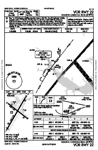 Coastal Carolina Rgnl New Bern, NC (KEWN): VOR RWY 22 (IAP)