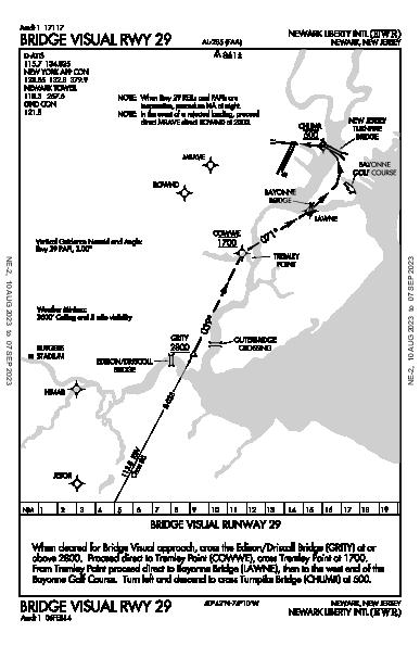 Newark Liberty Intl Newark, NJ (KEWR): BRIDGE VISUAL RWY 29 (IAP)