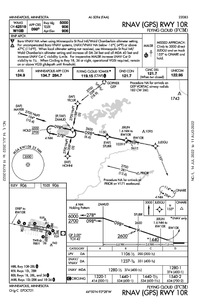 Flying Cloud Minneapolis, MN (KFCM): RNAV (GPS) RWY 10R (IAP)