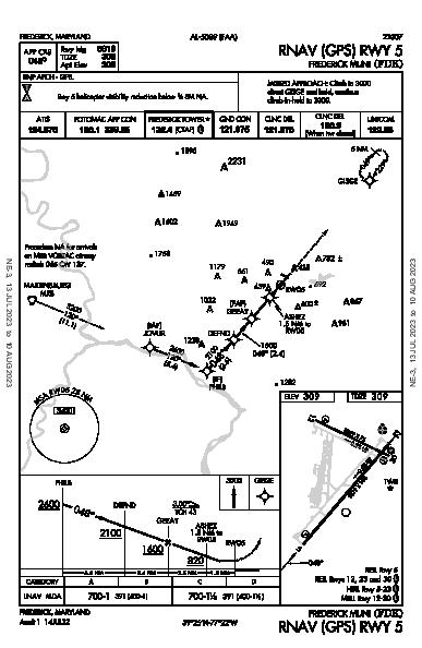 Frederick Muni Frederick, MD (KFDK): RNAV (GPS) RWY 05 (IAP)