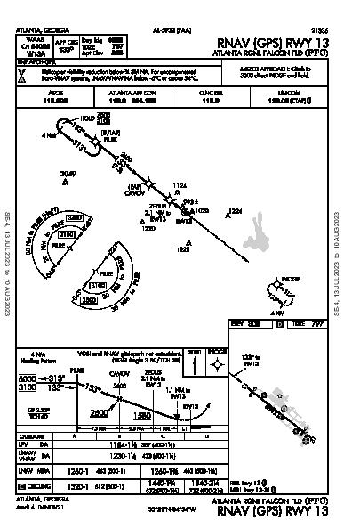 Falcon Field Atlanta, GA (KFFC): RNAV (GPS) RWY 13 (IAP)