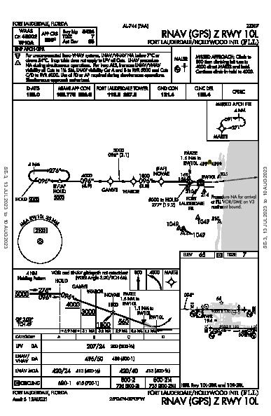 Int'l Fort Lauderdale-Hollywood Fort Lauderdale, FL (KFLL): RNAV (GPS) Z RWY 10L (IAP)