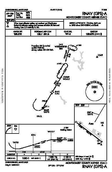 Montgomery County Airpark Gaithersburg, MD (KGAI): RNAV (GPS)-A (IAP)