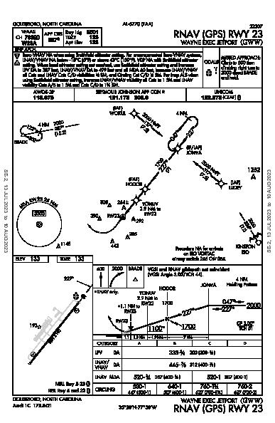 Wayne Exec Jetport Goldsboro, NC (KGWW): RNAV (GPS) RWY 23 (IAP)
