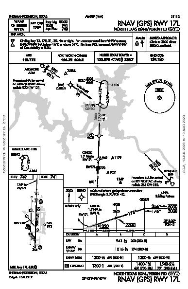 North Texas Rgnl/Perrin Field Sherman/Denison, TX (KGYI): RNAV (GPS) RWY 17L (IAP)