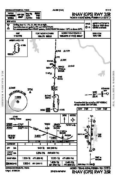 North Texas Rgnl/Perrin Field Sherman/Denison, TX (KGYI): RNAV (GPS) RWY 35R (IAP)