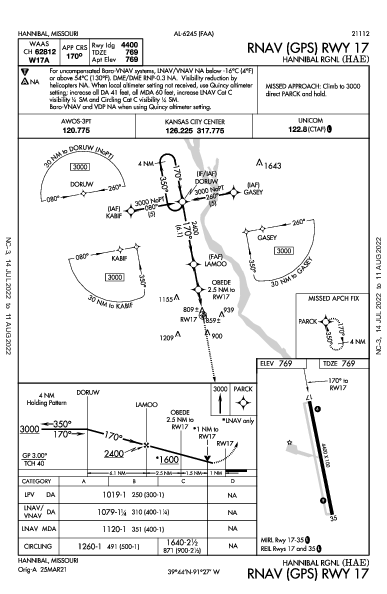 Hannibal Rgnl Hannibal, MO (KHAE): RNAV (GPS) RWY 17 (IAP)