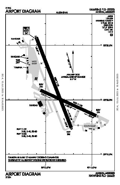 Hawkins Fld Jackson, MS (KHKS): AIRPORT DIAGRAM (APD)