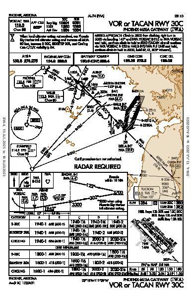 Phoenix-Mesa Gateway Phoenix, AZ (KIWA): VOR OR TACAN RWY 30C (IAP)