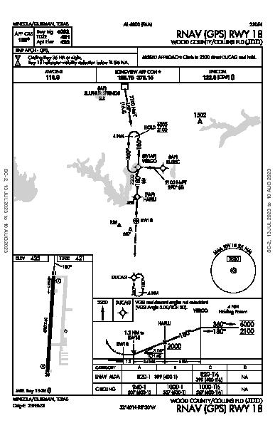Wood County - Collins Fld Mineola/Quitman, TX (KJDD): RNAV (GPS) RWY 18 (IAP)