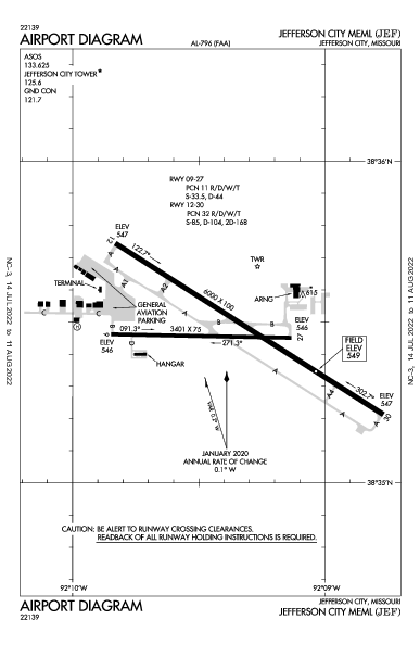 Jefferson City Meml Jefferson City, MO (KJEF): AIRPORT DIAGRAM (APD)