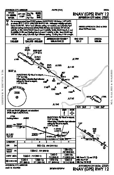 Jefferson City Meml Jefferson City, MO (KJEF): RNAV (GPS) RWY 12 (IAP)